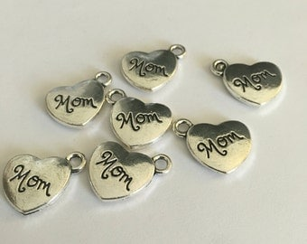 Silver tone Mom charms 10 pieces