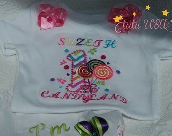 1st Birthday Outfit, Smash Cake Baby Girl 1st Birthday Baby Girl Colorful Lollipop Onesie and Diaper Cover For 1st Birthday