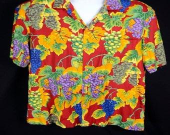 Paradise Found Men's Shirt Grapes Vineyard Short Sleeve 100% Rayon M
