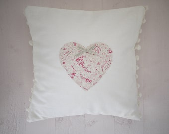 pompom heart cushion