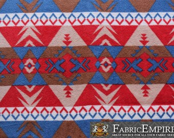 Fleece Fabric Printed Anti Pill Aztec Mosaic Warrior Navy Red Brown Sold By The Yard N 2019