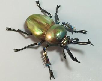 Rainbow Stag Beetle Borosilicate Glass Sculpture (Phalacrognathus muelleri - New Guinea)
