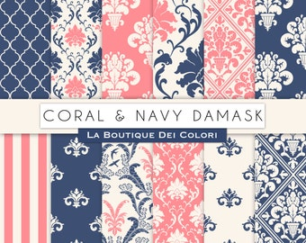 Coral and Navy damask digital paper. Pink and Blue digital paper pack of cute damask backgrounds patterns for commercial use clipart