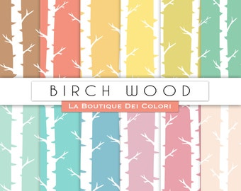 Colorful Birch Digital Paper. Birch Wood seamless pattern, backgrounds Instant Download for Personal and Commercial Use