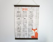 2016 Wall Calendar on Canvas - Fox Poster Calendar & Wood Hanger - Year at a Glance - Fox in Birch Trees - Rustic Cabin Woodland Wall Decor