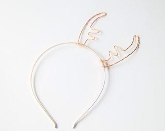 Gold Side Reindeer Antler Headband, Wire Rudolf Antlers Metal Deer Ears, Christmas Hair Band, Xmas Headband, Photo Prop