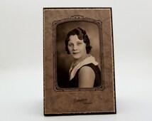 Vintage//Framed Portrait of Woman//Pin Curls//Cardboard Envelope Frame//1930's