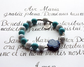 Rosary bracelet: Turquoise & Howlite with Lapis Lazuli cross