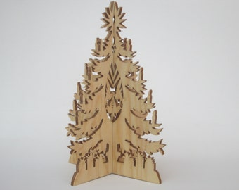 Gorgeous 3D Christmas Tree - Scroll saw cut - Christmas decoration