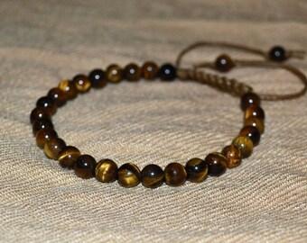 Tiger eye bracelet. 6 mm bracelet. Mens Bracelet. Womens Bracelet.
