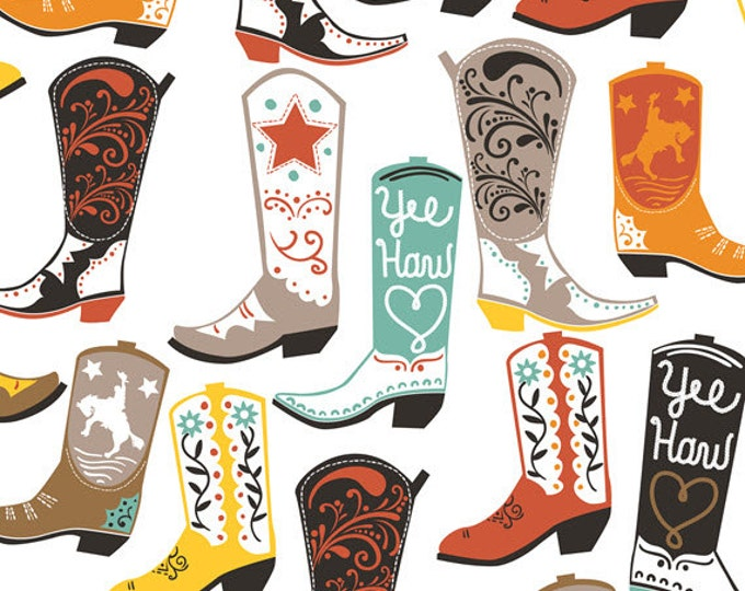 One Yard Luckie - Square Dance in White - Cowboy Boots Cotton Quilt Fabric - by Maude Asbury for Blend Fabrics - 101.115.01.1 (W3449)