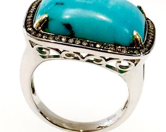 Turquoise and Diamond sterling silver gemstone  ring