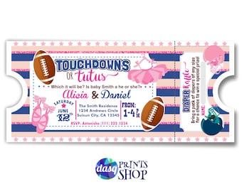 Baby gender reveal - Touchdowns or Tutus - Gender Reveal Idea - Fotball shower - team pink team blue - diaper raffle