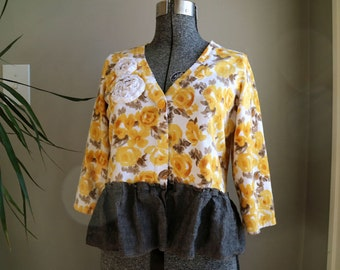 Medium Large Upcycled Sweater, Cropped Sweater, Refashioned Cotton Cardigan, Tattered Shabby Cottage Chic, Ruffled Linen, Upcycled Clothing