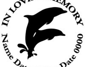 In Loving Memory Round Dolphins Ocean Beach Vinyl Decal Sticker