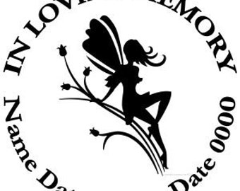 In Loving Memory Round Fairy Flowers Vinyl Decal Sticker