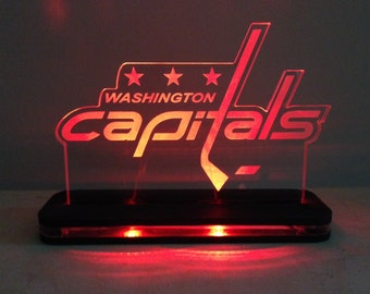 Washington Capitals NHL Lighted LED Edge Lit Acrylic Sign with color changing LED and remote