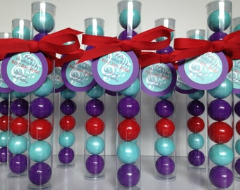 Music , Band , birthday Party, Gumball tube party favors, set of 12