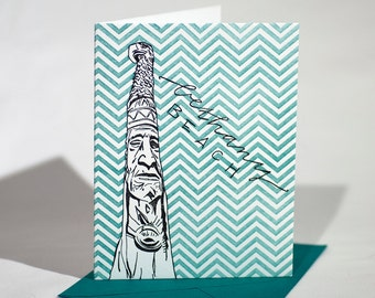 Bethany Beach Delaware Letterpress Card | Totem Pole | dark purple & turquoise single card with envelope