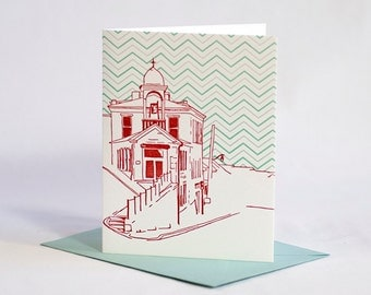 Ellicott City Maryland Letterpress Card | Fire House Museum | red & aqua single blank card with envelope