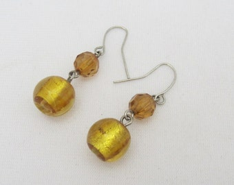 Vintage Jewelry Yellow Glass Bead Dangle Earrings