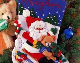 "DIY Bucilla Santa On Sled ~ 15"" Felt Christmas Stocking Kit #33509 Teddy Bear, Bird"