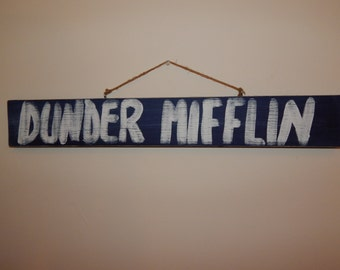 """The Office """"Dunder Mifflin"""" Hand Painted Wooden Sign (Vintage/Worn Look)"""