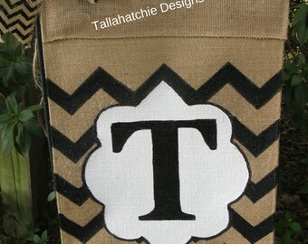 Personalized Initial Burlap Garden Flag In Chevron , Fall Flag*Monogram Garden Flag, Burlap garden Flag, Yard Flag, Christmas Gift