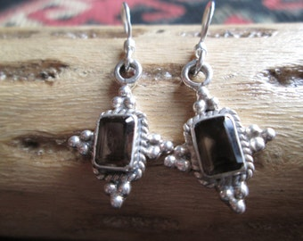 Smoky Quartz and Sterling Dangle Earrings