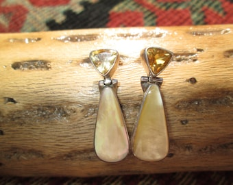 Gold Mother of Pearl, Citrine and Sterling Post Dangle Earrings