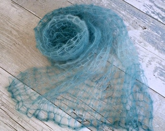 Sea Green Newborn Stretch Wrap, Mohair Newborn Wrap, Baby Cocoon, Hand Knitted Baby Blankets, Newborn Photo Prop, Knit Swaddle Wrap