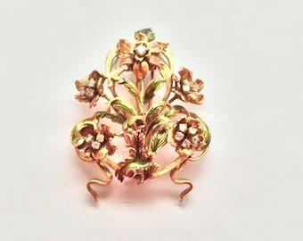 Antique French 18KT Gold Diamond and Enamel Floral Brooch Art Nouveau
