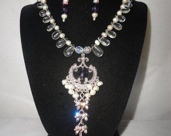 Gorgeous Quarts Amethyst Pearls Necklace Set***********.