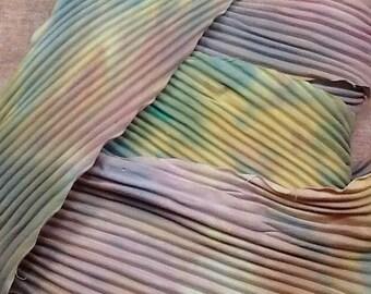 "Hand dyed arashi shibori ribbon cotton 18"" x 4"" foggy morning jewelry great adirondack"