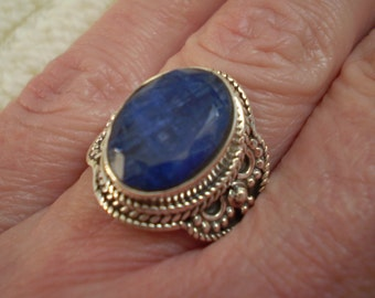 Sapphire (Natural) 925 Antique Sterling Silver Ring Size 8.25