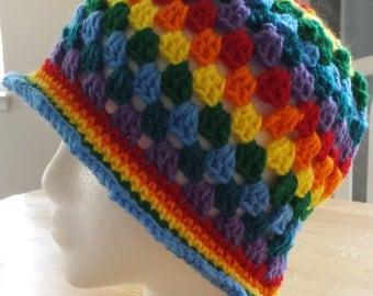 Rainbow Granny Square Beanie/Hat