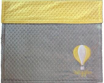 Personalized Baby Blanket, Hot Air Balloon Baby Blanket, Custom Minky Blanket, Gender Neutral Baby Blanket