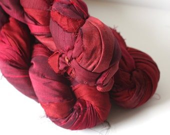 25% OFF SALE***Recycled Sari Silk Ribbon - Ruby Red