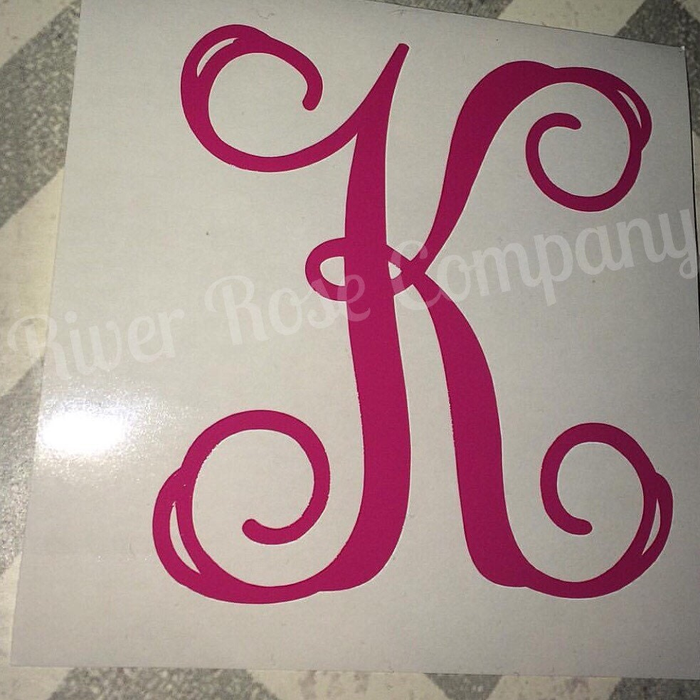 Single initial decal yeti cup monogram laptop decal car for Monogram letters for cups