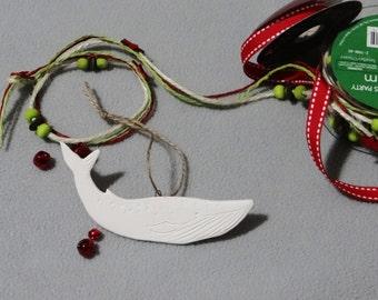 Handmade porcelain Blue Whale Ornaments, Ceramic Ornaments, Porcelain Ornament, Whale Ornament, Christmas Tree decoration