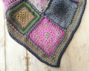 Crochet Baby Blanket, Granny Square Baby Blanket, Modern Crochet Blanket, Crochet Baby Afghan, Pure Wool Baby Blanket, Green Pink Charcoal