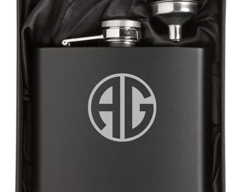 Monogram Engraved 12oz Stainless Steel Flask & Funnel Gift Box MATTE BLACK Personalized Custom Groomsman Best Man Groom Father Wedding
