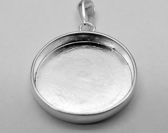 Jewelry Setting  Sterling 925 Silver Pendant Cup for round cabochon 19-20mm Women Handmade Accessories - style Free Choice