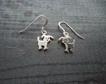 Cute solid silver dog earrings