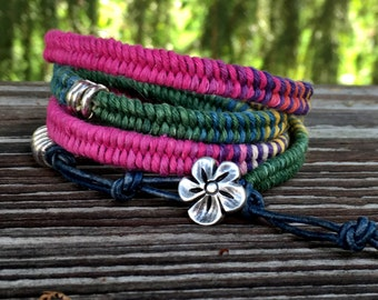 Wrap Bracelet- Macrame Wrap Bracelet- Bohemian Jewelry- Leather Wrap Bracelet- Ombre Bracelet Boho Chic Rustic
