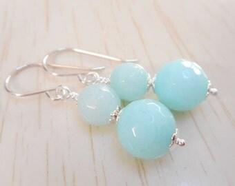 Amazonite Earrings, Sky Blue Stone Beaded Drop Earrings, Amazonite Gemstone Jewelry, Gift for Her, Silver Stone Bead Dangle Earrings
