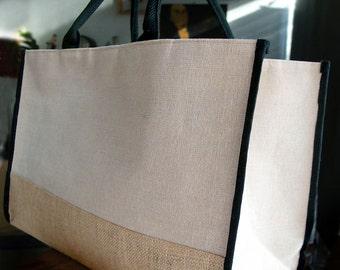 """Jute Tote Bag w/ Black Cotton & Jute Accents 17.5""""WX11.5""""HX8.5""""D"""