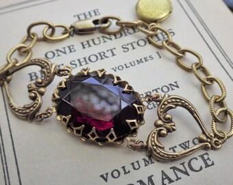 Large ~ Vintage Glass ~ Garnet Red ~ Bracelet ~ Vintage Style ~ Rennaissance Style ~ Last ONE ~ by LadyofTheLakeJewels