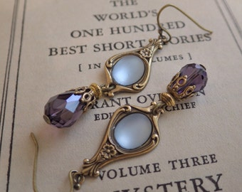 Blue Art Nouveau ~ Earrings ~ Blue and Purple ~ Vintage Style ~ Light Sapphire ~ Vintage Glass ~ by LadyofTheLakeJewels