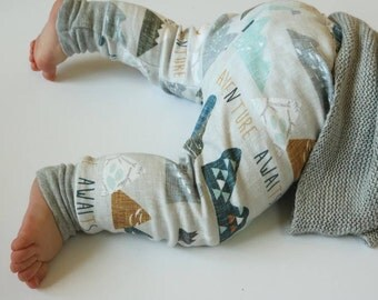 Adventure Awaits Organic Cotton Leggings- Baby leggings/ Kids leggings 100 % Organic Cotton- Mountains